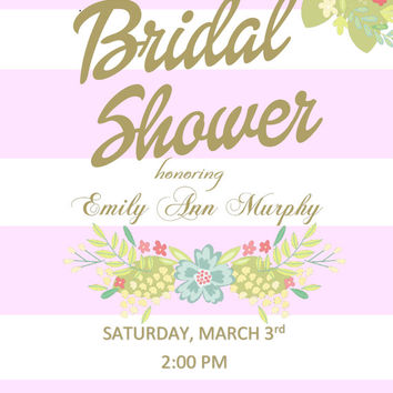 DIY Printable PINK and White Bridal Shower Invitation with Coral Flowers and Gold Writing Elegant Wedding Shower (DF)