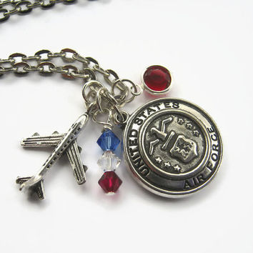 Air Force Necklace, USAF Necklace, Military Jewelry, Airplane Pilot Personalized Necklace, Airman, Aircraft, Choose Your Length, Patriotic