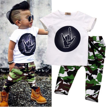 f0ddde81d Pop Toddler Baby Kids Boys Clothes Tops T-shirt Pants Army Green