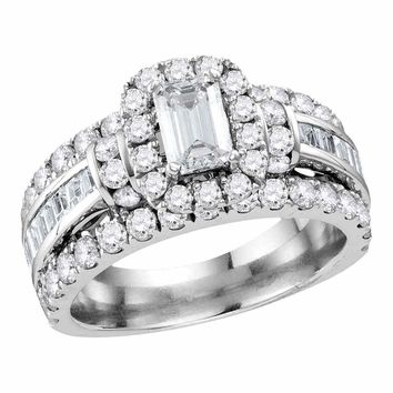 14kt White Gold Women's Emerald Diamond Solitaire Halo Bridal Wedding Engagement Ring 2-1-2 Cttw - FREE Shipping (USA/CAN)