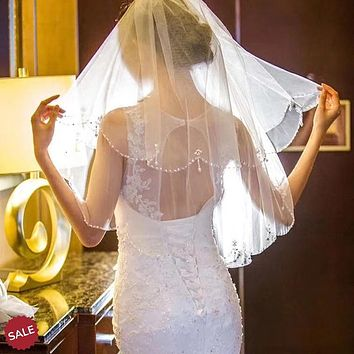 2 Layer Short Beaded Pearl Bridal Veil With Comb
