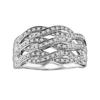 Love Always Sterling Silver 1/3-ct. T.W. Diamond Openwork Crisscross Ring (White)