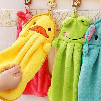 Childrens Bathroom Cartoon Animal Hand Towels