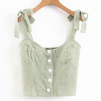 Fashion New Plaid Sexy Straps Top Women Green