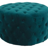 Lulu Round Velvet Fabric-Tufted Ottoman - Transitional - Footstools And Ottomans - by New Pacific Direct Inc.