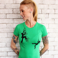 Rock Climbing Tshirt Short Sleeved Climber Graphic Tee Shirt Ladies FITTED Cotton Crewneck Screenprinted Shirt Bright Kelly Green Junior Fit