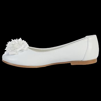 White Dress Shoes with a Crystal Cluster & Bow on the Toe (Toddler & Girls Sizes)