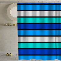 Funky bright striped  special custom shower curtains that will make your bathroom adorable.