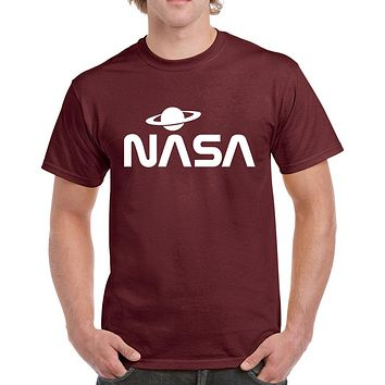 NASA with Saturn Design Heavy Cotton Classic Fit Round Neck Short Sleeve T-Shirts – S ~ 3XL