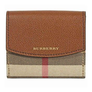 VONW3Q BURBERRY Women's 'Luna' House Check & Leather Tri-Fold Wallet Brown