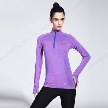 Grey Women Half Zip Running Shirts Autumn Long Sleeve Fitness Yoga Shirt Top Slim Fit Outdoor Sport Athletic T Shirt Solid Color