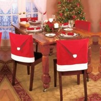 Santa Clause Red Hat, Hat Chair Covers, christmas decoration for dinner Set of 8