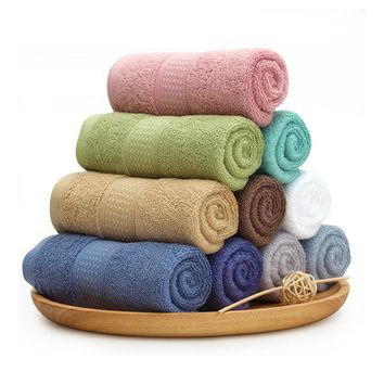 KCASA Pure Color Bath Towels Long Stapled Cotton Beach Spa Thicken Super Absorbent Towel Sets