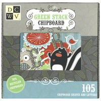 DCWV - Green Woodland Collection - Chipboard Embellishments - 105pc Mega Pack
