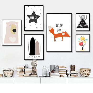 Nordic Animal Canvas Art Print Painting Poster of Cat and Owl ,Fox Cartoon Canvas Painting For Kids Room