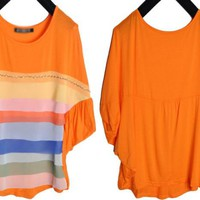 Colorful Round Neck Tiered Dolman Sleeves Wide Tee Top 2 Colors
