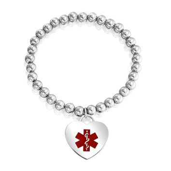 Heart Tag Charm Medical Alert ID Stretch Bracelet Stainless