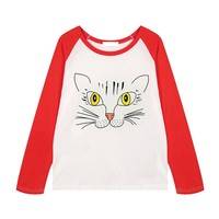 ZLYC Contrast Sleeves Cat Face Sweatshirt