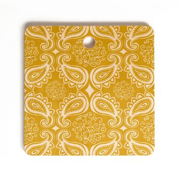 Heather Dutton Plush Paisley Goldenrod Cutting Board Square