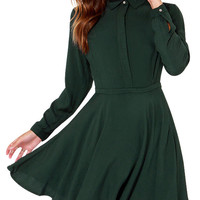 Long Sleeve Collar Pleated Mini Dress