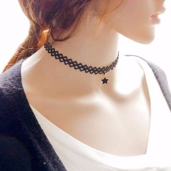 Women Pentagram Pendant Clavicle Chain Necklace Collar Choker Jewelry