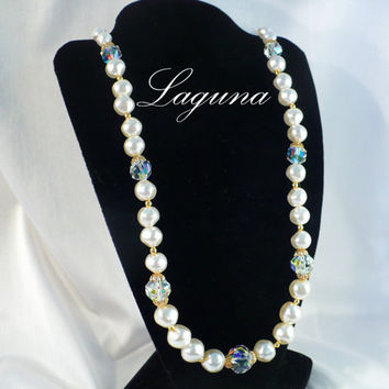Vintage LAGUNA 30 Inch AB Crystal & Baroque Pearl Necklace Old New Stock