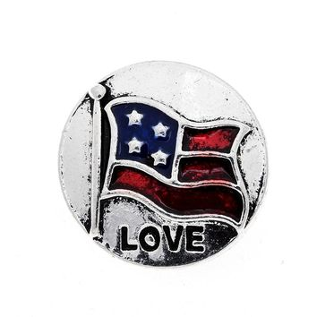 NEW 10pcs/lot Metal Snaps 18mm Love U.S Flag Buttons Fit Snap Leather Bracelet Jewelry Findings
