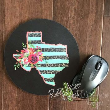 """Black w Cheetah and Red Texas 8"""" Neoprene Round Mouse Pad"""