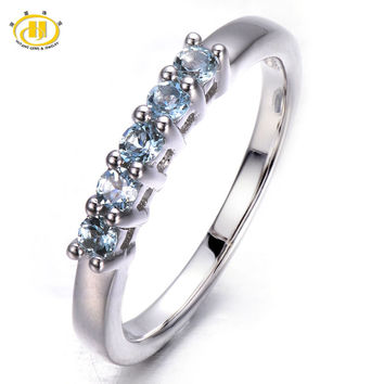 Five Stone Natural Aquamarine Solid 925 Sterling Silver Band Tail Ring Engagement Bridal wedding Fine Jewelry Women's