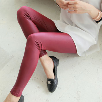 Autumn and winter women's faux leather matte thin leather pants female plus size trousers 2015  JN017