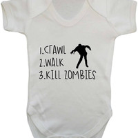 1.Crawl 2. Walk 3. Kill Zombies Funny Joke To Do List Zombie Fighter Baby Onesuit Vest