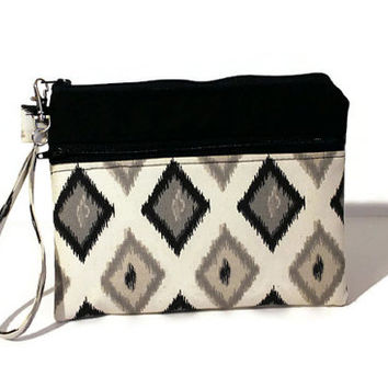 Natural ikat wristlet, double zipper bag,  padded cell phone bag, zippered gadget case, gadget bag, cell phone wristlet, bridesmaid pouch.