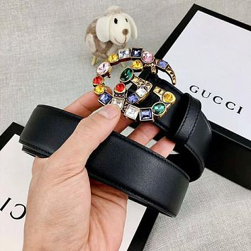 GUCCI Classic Popular Women Colorful Rhinestone GG Letter Buckle Belt Leather Belt Black