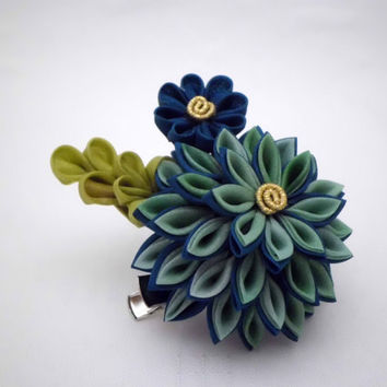 Teal turquoise chrysanthemum kanzashi inspired hair clip, brooch, silk flower brooch, hair fascinator