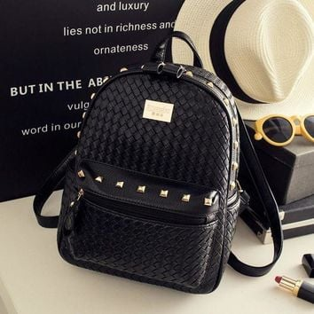 ONETOW Day-First? Black Studded Leather Backpack Travel Bag