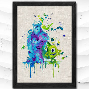 Monsters University Watercolor Print Disney Poster Art Print Baby Room Illustrations Mike Sulley Nursery Kids Room Gift Linen Poster CAP118
