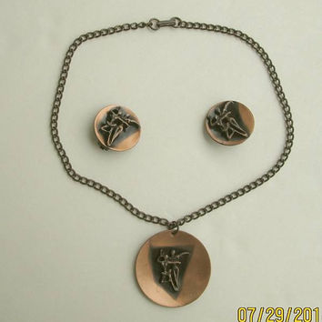 Solid Copper Ballet Dancers SET Necklace Earrings Vintage Jewelry