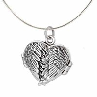 925 Sterling Silver Angel Heart Guardian Angel Wing Locket Pendant Necklace