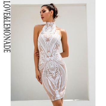 Love&Lemonade Sexy White Retro Sequins Halo Bodycon Party Dress  TB 10208