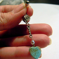Native Inspired Turquoise Heart Tribal Belly Ring  Boho Hippi Hipster Bohemian Gypsy Belly Dancer Belly Button Ring   (br007)