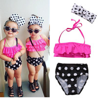 Cute Toddler Kids Baby Girls Clothing Set Halter Swimsuit Children