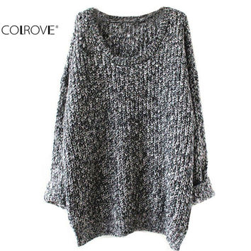 New 2016 Women's Clothes Tops Fashion Oversized Pullovers Casual Long Sleeve Jumpers Loose Knitted Pullover Sweater