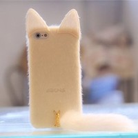 MagicPieces Colorful Protective Snap On Case for iPhone 4/4S Frizzy Downy Cute Cat with Tail White
