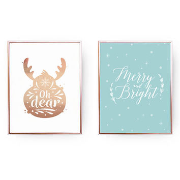 Oh Dear, Merry And Bright, Reindeer Print, Xmas Wall Art, Christmas Print, Christmas Decor, Real Gold Foil, Holiday Sign, Set Of 2 Prints