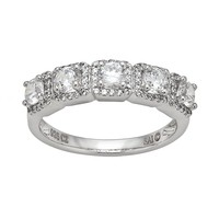 DiamonLuxe Sterling Silver 1.59-ct. T.W. Simulated Diamond Frame Ring (White)