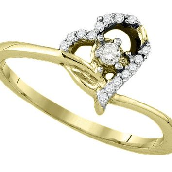 10k Yellow Gold Round Diamond Womens Heart Dainty Promise Bridal Engagement Ring 1/10 Cttw