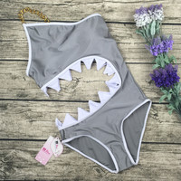 8DESS Sexy Shark Mouth Bikini Swimsuit Swimwear