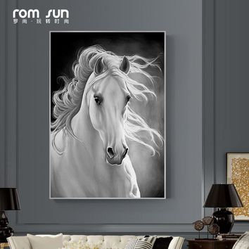 Modern Nordic Style Horse HD Poster Canvas Painting Wall Art Pictures For Living Room Home Decor Yellow White Posters And Prints