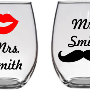 SET of Mr. and Mrs. Custom name stemless wine glass set, Perfect wedding gift, anniversary gift, Custom Funny wine glass set, personalized