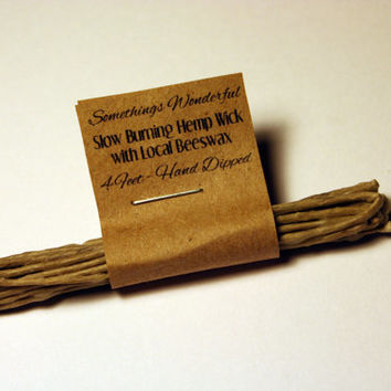 Natural Slow Burning Hemp Wick, Hand Dipped In Beeswax